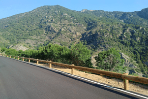 Road safety - wood and steel T22 guardrail