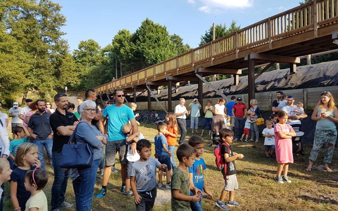Mios : inauguration de la passerelle bois-métal Tertu