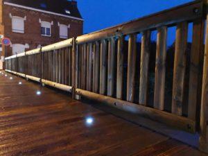Led platelage passerelle bois-métal merville